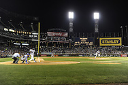 CHICAGO, IL:  Paul Konerko #14 of the Chicago White Sox connects for a home run during the game against the Kansas City Royals on August 12, 2011 at U.S. Cellular Field in Chicago, IL  (Photo by Ron Vesely)