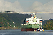 Cargo ship croosing under The Centennial bridge, Panamá Canal, Rep.of Panamá, Central America