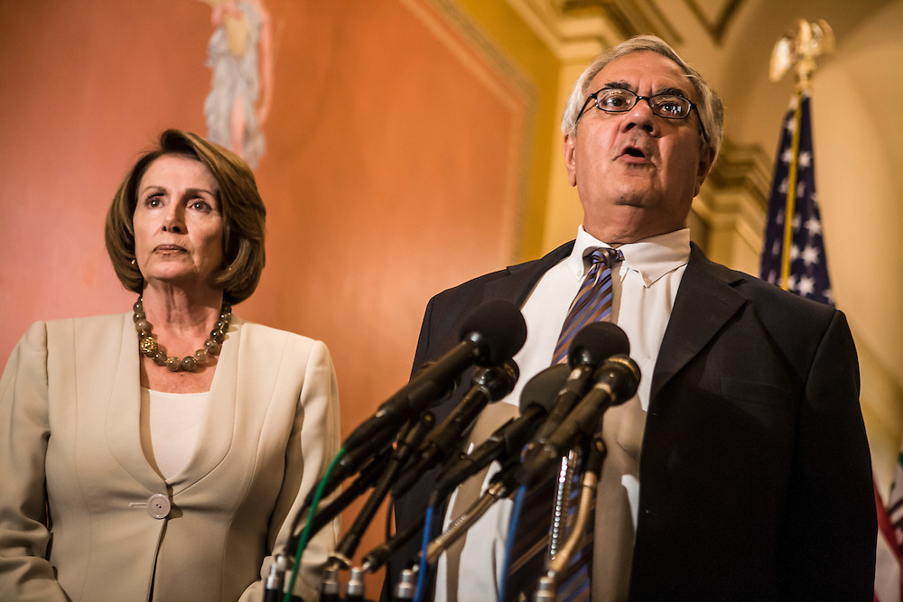 Rep. Barney Frank (D-MA) speaks at a news conference alongside House Speaker Nancy Pelosi (D-CA) regarding the government bailout of AIG and the Speaker's meeting with auto industry executives on Capitol Hill on Wednesday, September 17, 2008 in Washington, DC. Brendan Hoffman for the New York Times