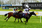 """Bequest ridden by David Probert and trained by Ron Hodges in the """"Around The Paddock"""" At Valuerater.Co.Uk Handicap race. Devils Roc ridden by Rob Hornby and trained by Jonathan Portman in the """"Around The Paddock"""" At Valuerater.Co.Uk Handicap race.  - Mandatory by-line: Ryan Hiscott/JMP - 01/05/2019 - HORSE RACING - Bath Racecourse - Bath, England - Wednesday 1 May 2019 Race Meeting"""