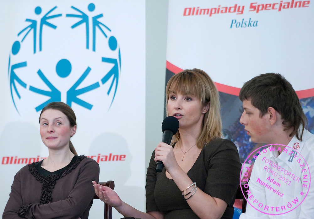 Famous actress Joanna Brodzik with athletes of Special Olympics attend a meeting with First Lady Anna Komorowska in Presidential Palace in Warsaw on February 26, 2013..The mission of Special Olympics is to provide sports training and athletic competition for children and adults with intellectual disabilities...Poland, Warsaw, February 26, 2013..Picture also available in RAW (NEF) or TIFF format on special request...For editorial use only. Any commercial or promotional use requires permission...Photo by © Adam Nurkiewicz / Mediasport