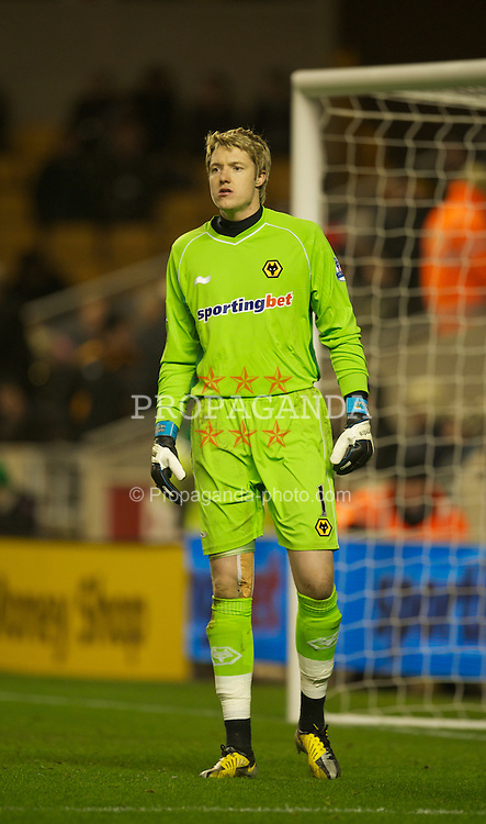 WOLVERHAMPTON, ENGLAND - Tuesday, January 31, 2012: Wolverhampton Wanderers' goalkeeper Wayne Hennessey in action against Liverpool during the Premiership match at Molineux. (Pic by David Rawcliffe/Propaganda)