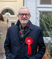 © Licensed to London News Pictures. 12/12/2019. London, UK. Jeremy Corbyn Leader of the Labour Party leaves his home and walks to the polling Station in Islington to cast his vote in today's General Election. As the Country decides on a new political party and Prime Minister. Photo credit: Alex Lentati/LNP