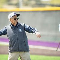 "Hiroshi H. ""Hershey"" Miyamura, Korean War hero and Medal of Honor recipient, throws out the first pitch at the Miyamura baseball game, Thursday, May 2 at the school named after him, Miyamura High School in Gallup."