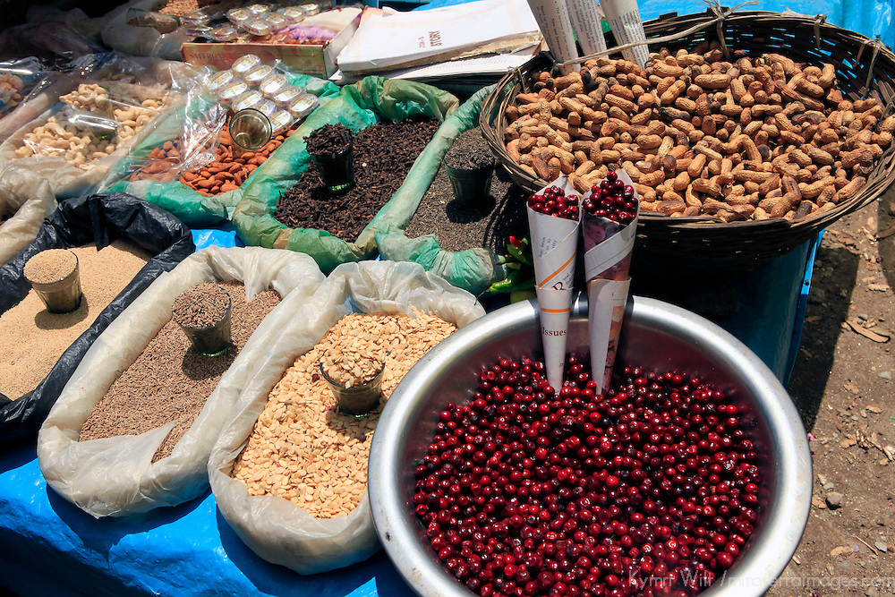 Asia, India, Darjeeling. Spices, berries and snacks of the Himalayan region of Darjeeling.