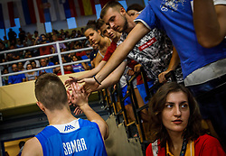Samar Ziga of Slovenia with fans after the basketball match between National teams of Turkey and Slovenia in the SemiFinal of FIBA U18 European Championship 2019, on August 3, 2019 in Nea Ionia Hall, Volos, Greece. Photo by Vid Ponikvar / Sportida
