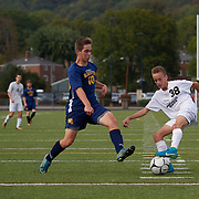 SEWICKLEY, PA - OCTOBER 21:  During a boys high school exhibition game between Quaker Valley and McGuffy at Chuck Knox Stadium on October 21, 2017 in Leetsdale, PA.  The Quakers went on to win 7-0. (Photo by Shelley Lipton)