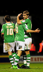 Yeovil Town's Sam Foley celebrates with Yeovil Town's James Hayter - Photo mandatory by-line: Dougie Allward/JMP  - Tel: Mobile:07966 386802 04/12/2012 - SPORT - FOOTBALL - Johnstone's Paint Trophy  -  Yeovil  -  Huish Park  -  Yeovil Town V Wycombe Wanderers