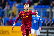 Chris Cadden (#7) of Motherwell FC appeals to the assistant referee during the Ladbrokes Scottish Premiership match between St Johnstone and Motherwell at McDiarmid Stadium, Perth, Scotland on 11 May 2019.