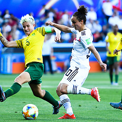 Janine Van Wyk of South Africa and Lina Magull of Germany during the Women's World Cup match between Germany and South Africa at Stade de la Mosson on June 17, 2019 in Montpellier, France. (Photo by Alexandre Dimou/Icon Sport)