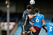 Harry Maguire of Leicester City has a headed attempt during the Pre-Season Friendly match between Scunthorpe United and Leicester City at Glanford Park, Scunthorpe, England on 16 July 2019.