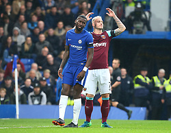April 8, 2018 - London, England, United Kingdom - L-R Chelsea's Antonio Rudiger and West Ham United's Marko Arnautovic.during English Premier League match between Chelsea and West Ham United at Stamford Bridge, London, England on 08 April 2018. (Credit Image: © Kieran Galvin/NurPhoto via ZUMA Press)