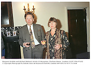 Margaret Drabble and Michael Holroyd. Article 19  Reception. Chatham House, 10 St. James Sq. London.13/2/97. Film 9732f2<br />© Copyright Photograph by Dafydd Jones<br />66 Stockwell Park Rd. London SW9 0DA<br />Tel 0171 733 0108