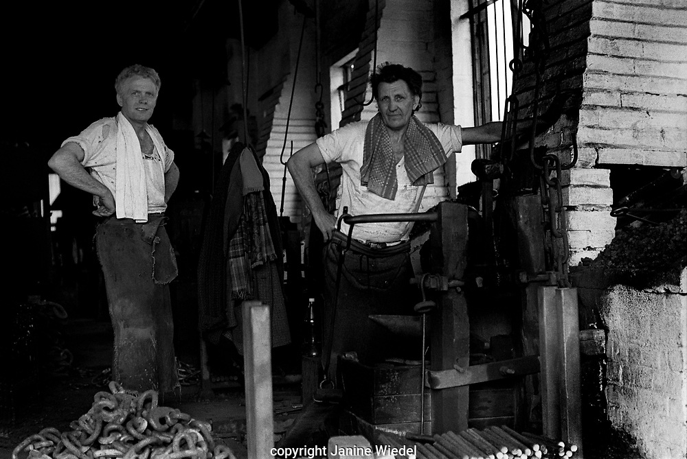 Clarrie Johnson and Eric Attwood were the 2 remaining hand chainmakers (making chain in traditional method) at Barzillai Hingley inThe Black Country, West Midlands  UK in 1977.