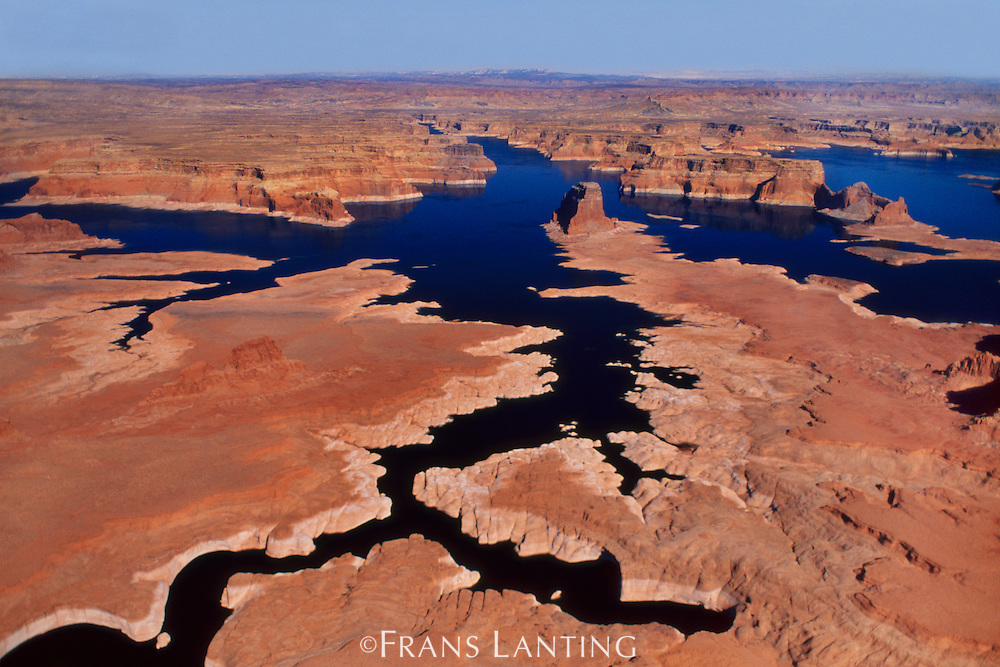 Low water levels (aerial), Lake Powell, Glen Canyon National Recreation Area, Utah