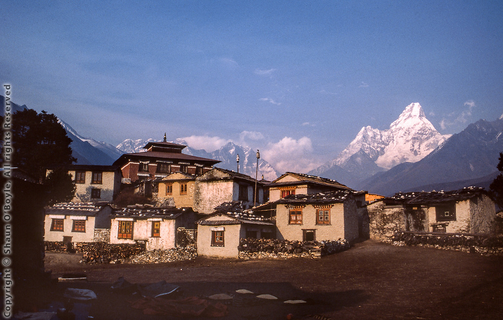 Tengboche Monastery, Nepal, with Ama Dablam to the right, and Everest just visible above Nuptse.