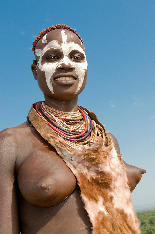 Woman from the Karo tribe, with colour in her face, Omovalley, Ethiopia,Africa