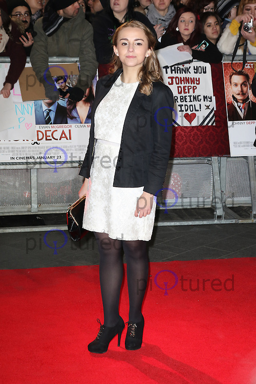 Hannah Witton, Mortdecai - UK film premiere, Leicester Square, London UK, 19 January 2015, Photo by Richard Goldschmidt