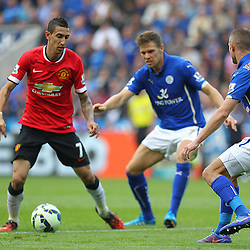 Manchester United's Angel Di Maria on the ball during the Barclays Premiership match between Leicester City FC and Manchester United FC, at the King Power Stadium, Leicester, 21st September 2014 © Phil Duncan | SportPix.org.uk