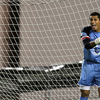 Orlando City Lions Goalkeeper Miguel Gallardo (1) during a United Soccer League Pro soccer match between the Richmond Kickers and the Orlando City Lions at the Florida Citrus Bowl on May 25, 2011 in Orlando, Florida.  (AP Photo/Alex Menendez)
