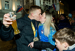 Jan Grebenc kissing his girlfriend during reception of Slovenian National Handball Men team after they placed third at IHF World Handball Championship France 2017, on January 30, 2017 in Mestni trg, Ljubljana centre, Slovenia. Photo by Vid Ponikvar / Sportida