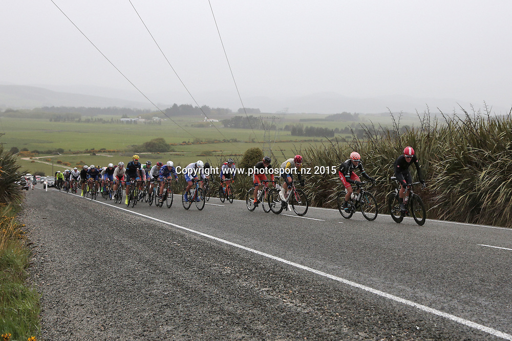 The Peloton during stage 7 in the SBS Bank Tour of Southland November 7 2015.