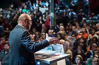 22 MAR 2017, BERLIN/GERMANY:<br /> Martin Schulz, SPD Parteivorsitzender und Spitzenkandidat der SPD zur Bundestagswahl, haelt eine Rede auf dem Neumitgliedertreffen der Berliner SPD, Festsaal Kreuzberg<br /> IMAGE: 20170322-02-116<br /> KEYWORDS: Martin Schulz, speech, Kanzlerkandidat, candidate