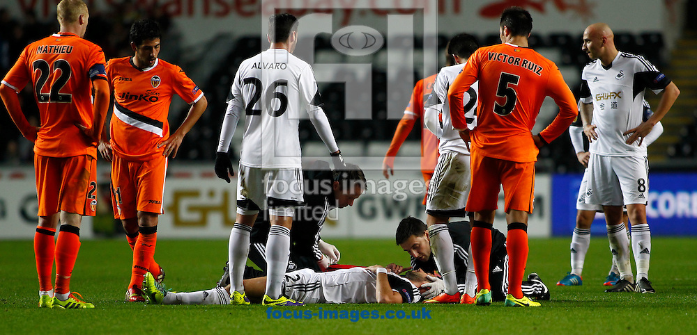 Picture by Mike  Griffiths/Focus Images Ltd +44 7766 223933<br /> 28/11/2013<br /> Chico Flores of Swansea City receives treatment for a head injury against Valencia Club de F&uacute;tbol during the UEFA Europa League match at the Liberty Stadium, Swansea.