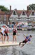 Henley, Great Britain.  Henley Royal Regatta. Harvard University 'A', celebrate, after winning, Prince Albert Challenge Cup, M4+., with the traditional ritual, of tossing the Cox in the Thames. River Thames Henley Reach.  Royal Regatta. River Thames Henley Reach.  Sunday  03/07/2011  [Mandatory Credit  Karon Phillips/ Intersport Images] 2011 Henley Royal Regatta. HOT. Great Britain . HRR
