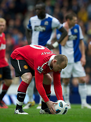 BLACKBURN, ENGLAND - Saturday, May 14, 2011: Manchester United's Wayne Rooney prepares to score the equalising goal against Blackburn Rovers from the penalty spot, another important dodgy penalty decision awarded to Man Utd, during the Premiership match at Ewood Park. (Photo by David Rawcliffe/Propaganda)