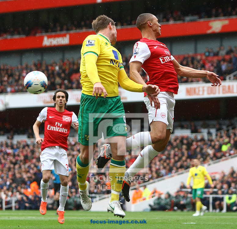 Picture by Paul Chesterton/Focus Images Ltd.  07904 640267.05/05/12.Grant Holt of Norwich and Kieran Gibbs of Arsenal in action during the Barclays Premier League match at The Emirates Stadium, London.