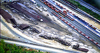 Aerial view of amtrak train yard, rails, cars ties, and tracks.