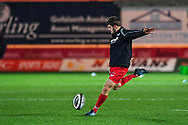 Scarlets' Dan Jones during the pre match warm up<br /> <br /> Photographer Craig Thomas/Replay Images<br /> <br /> Guinness PRO14 Round 13 - Scarlets v Dragons - Friday 5th January 2018 - Parc Y Scarlets - Llanelli<br /> <br /> World Copyright &copy; Replay Images . All rights reserved. info@replayimages.co.uk - http://replayimages.co.uk