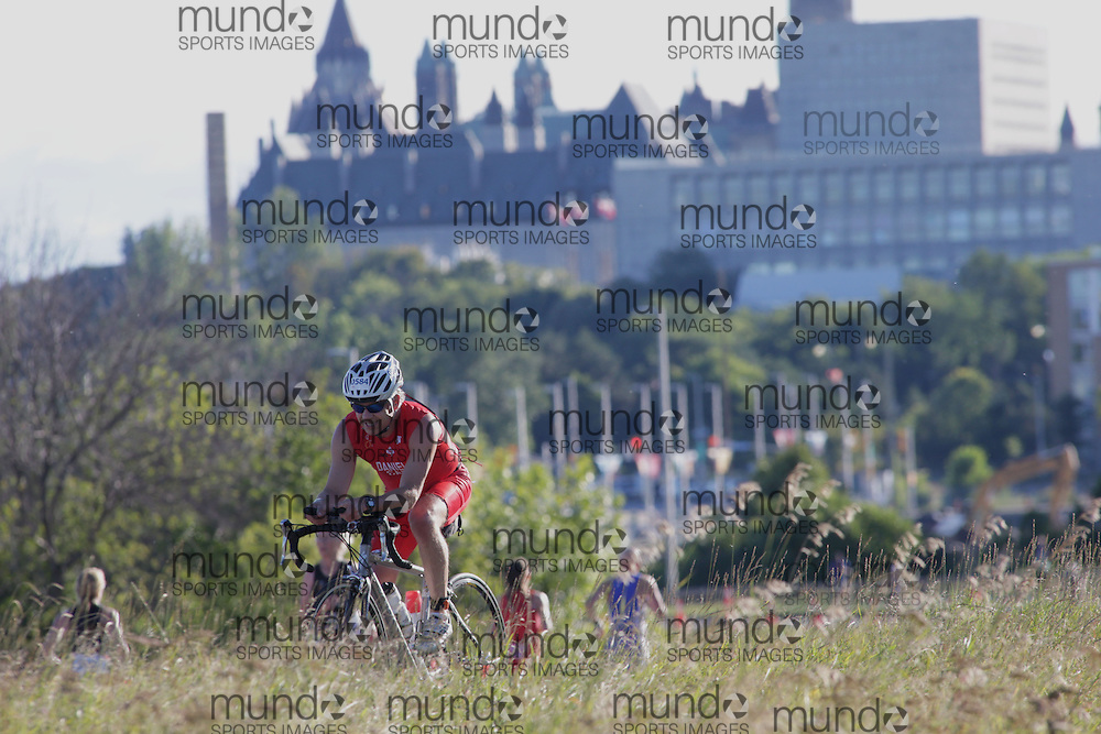 (Ottawa, Canada---10 August 2013)  George Daniel (584)  of Canada (CAN) competing in the 55-59 Male AG International Triathlon Union 2013 World Duathlon Championships (10 km run- 40 km bike- 5km run).
