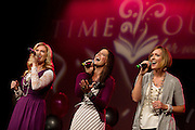 The women of Mercy River, left to right, Brooke Stone, Whitney Permann and Soni Muller perform during the Deseret Books sponsored Time Out for Women at the Salt Palace, Saturday, Oct. 27, 2012.