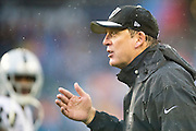 NASHVILLE, TN - NOVEMBER 29:  Head Coach Jack Del Rio of the Oakland Raiders talks with a official during a game against the Tennessee Titans at Nissan Stadium on November 29, 2015 in Nashville, Tennessee.  (Photo by Wesley Hitt/Getty Images) *** Local Caption *** Jack Del Rio