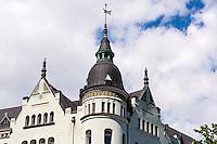 Finland, Helsinki. Building overlooking Pohjoissatama harbour.