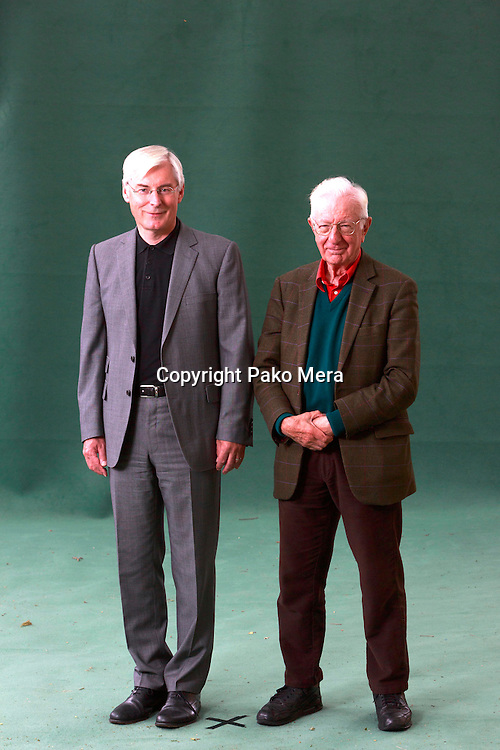 Edinburgh. UK. 18th August. Edinburgh International Book Festival. Day 4 Edinburgh International Book Festival takes place in Charlotte Square Gardens. Pictured David M Clark and Richard Layard. Pako Mera