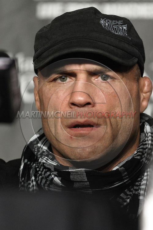 MANCHESTER, ENGLAND, NOVEMBER 12, 2009: Randy Couture listens to a question fielded by a member of the press during the pre-fight press conference for UFC 105 at the MEN Arena in Manchester, England on November 12, 2009.