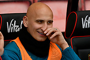 Jonjo Shelvey (8) of Newcastle United wipes his nose as he sits on the bench during the Premier League match between Bournemouth and Newcastle United at the Vitality Stadium, Bournemouth, England on 16 March 2019.
