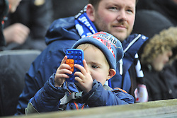 YOUNG FAN TAKING PICS CHELSEA WARMING UP ON HIS PHONE, MK Dons v Chelsea,  FA Cup 4th Round Stadium MK Sunday 31st January 2016