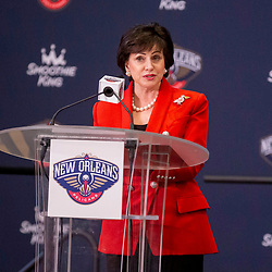 Jun 21, 2019; New Orleans, LA, USA; New Orleans Pelicans owner Gayle Benson talks about Zion Williamson (not pictured) the first overall selection in the NBA Draft talks during an introductory press conference at the New Orleans Pelicans Training Facility. Mandatory Credit: Derick E. Hingle-USA TODAY Sports