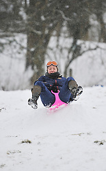© Licensed to London News Pictures. 20 January 2013. Chipping Norton, Oxfordshire. Jessica Aldworth (20). Fun in the snow at Chipping Norton. Photo credit : MarkHemsworth/LNP