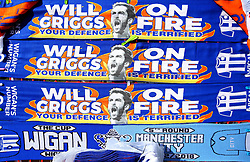Scarfs with Will Grigg of Wigan Athletic on with his famous chant, 'Will Grigg's on Fire' emblazoned on - Mandatory by-line: Robbie Stephenson/JMP - 24/02/2018 - FOOTBALL - DW Stadium - Wigan, England - Wigan Athletic v Rochdale - Sky Bet League One
