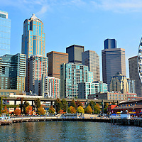 Downtown Skyline and Ferris Wheel in Seattle, Washington<br />