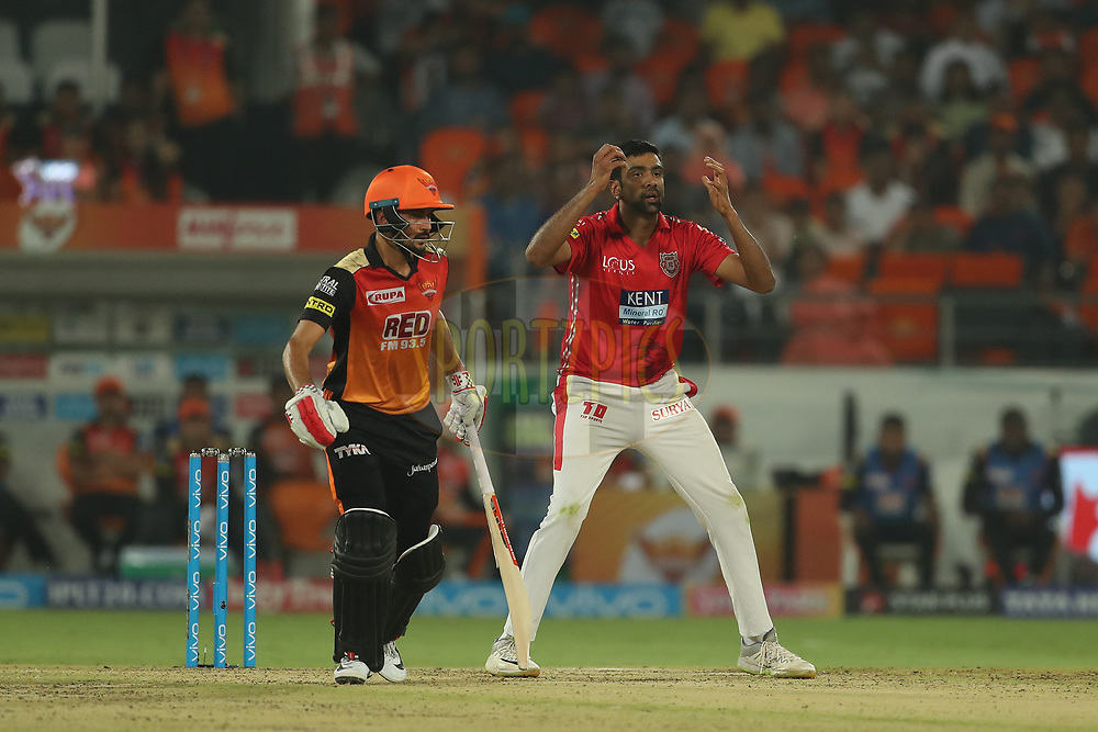 Ravichandran Ashwin of the Kings XI Punjab reacts after a delivery during match twenty five of the Vivo Indian Premier League 2018 (IPL 2018) between the Sunrisers Hyderabad and the Kings XI Punjab  held at the Rajiv Gandhi International Cricket Stadium in Hyderabad on the 26th April 2018.<br /> <br /> Photo by: Ron Gaunt /SPORTZPICS for BCCI