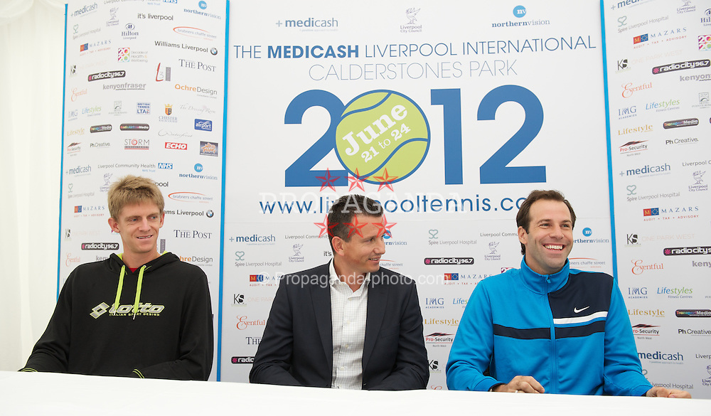 LIVERPOOL, ENGLAND - Thursday, June 21, 2012: Kevin Anderson (RSA), Richard Krajicek (NED) and Greg Rusedski (GRB) during a press conference on the opening day of the Medicash Liverpool International Tennis Tournament at Calderstones Park. (Pic by David Rawcliffe/Propaganda)