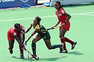 during the women's hockey match of the The Commonwealth Games between South Africa and Trinidad and Tobago held at the Stadium in New Delhi, India on the  October 2010..Photo by:  Ron Gaunt/SPORTZPICS/PHOTOSPORT
