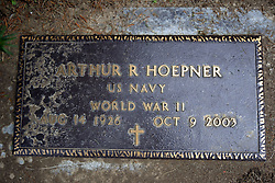 31 August 2017:   Veterans graves in Park Hill Cemetery in eastern McLean County.<br /> <br /> Arthur R Hoepner  US Navy  World War II  Aug 14, 1926  Oct 9, 2003