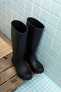 rubber boots in a bathroom